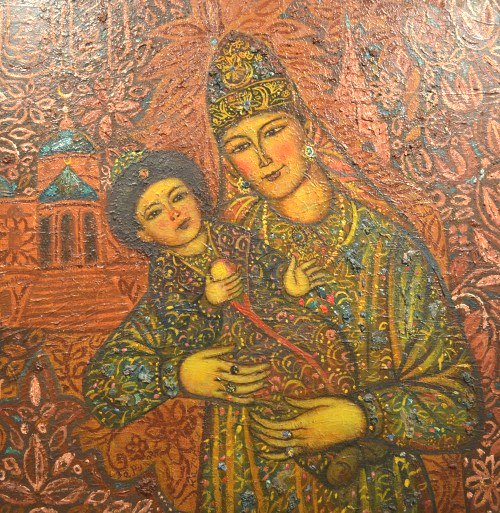 Suyumbike with her son Utyamysh-Girey. 1989-1990. State Museum of Fine Arts of the Republic of Tatarstan