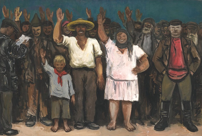 They vote for the exception of the kulak from the collective farm. 1931