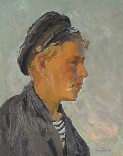 Tractor driver. 1954. Oil on pressed board attached on canvas