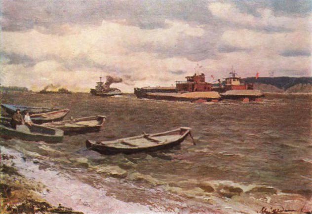 Windy day on the Volga. 1966