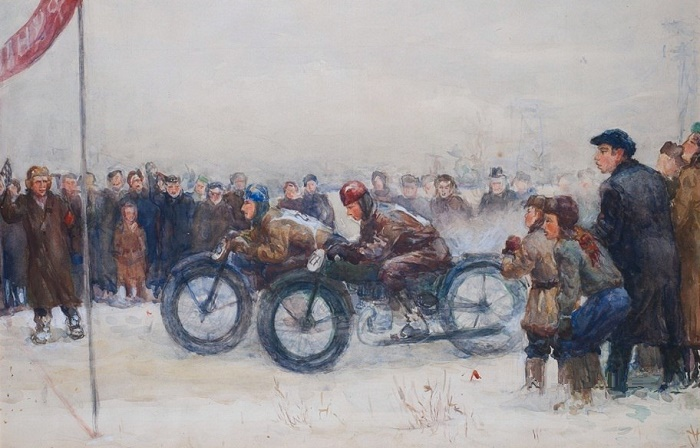 Winter competitions on motorcycles. 1930s