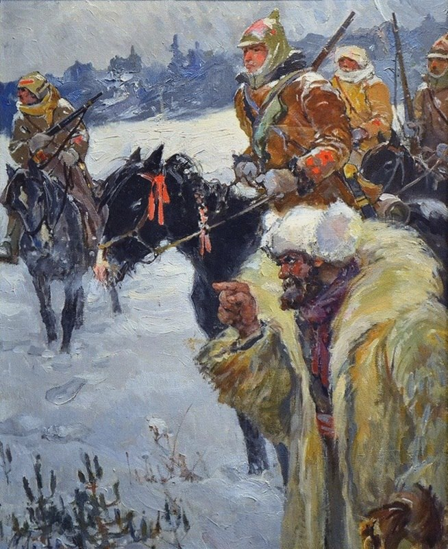 A peasant pointing to Kolchakov. 1926-1931
