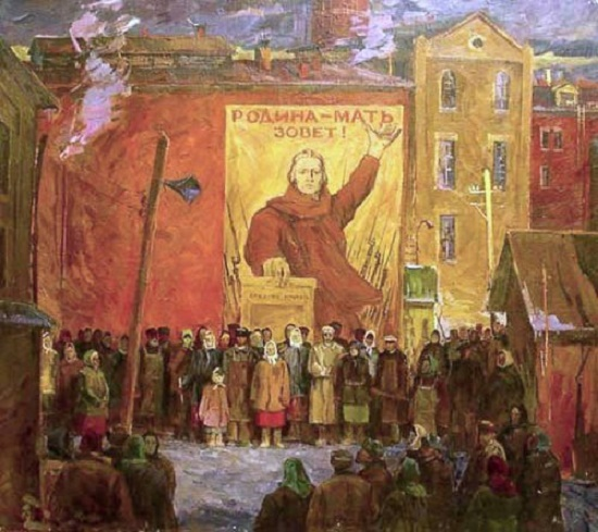 Painting by Soviet Russian artist Mikhail Ivanovich Avilov (6 September 1882 - 14 April 1954)