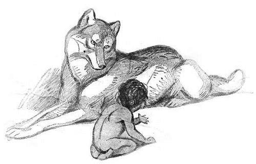 Mowgli and wolf