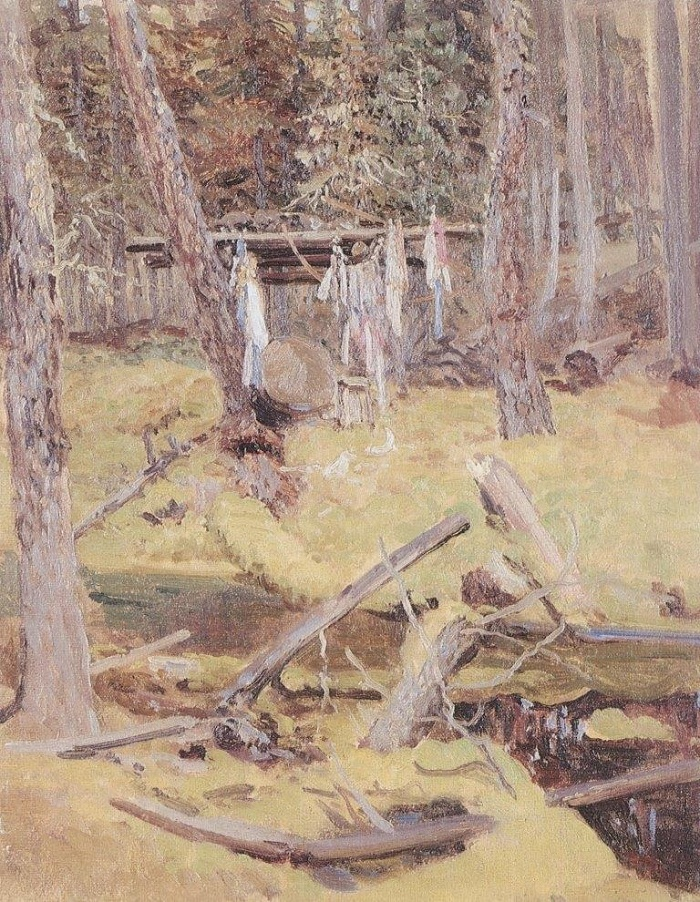 Shaman's grave. Oil on canvas