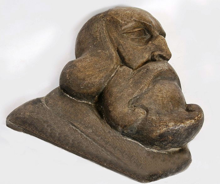 The work of the sculptor V.A. Vatagin. Andrei Rublev. 1918-1919. Gypsum, toning. From the collection of the State Darwin Museum