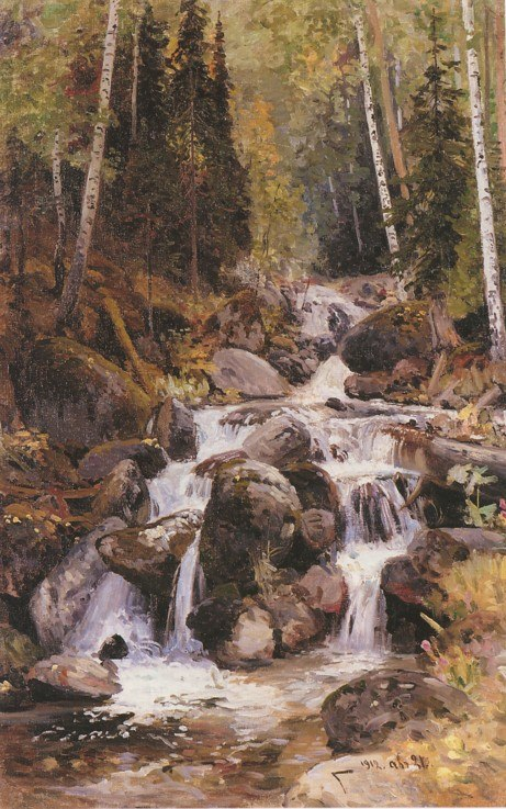 Waterfall on the Balyk-Suu. 1912. Oil on canvas