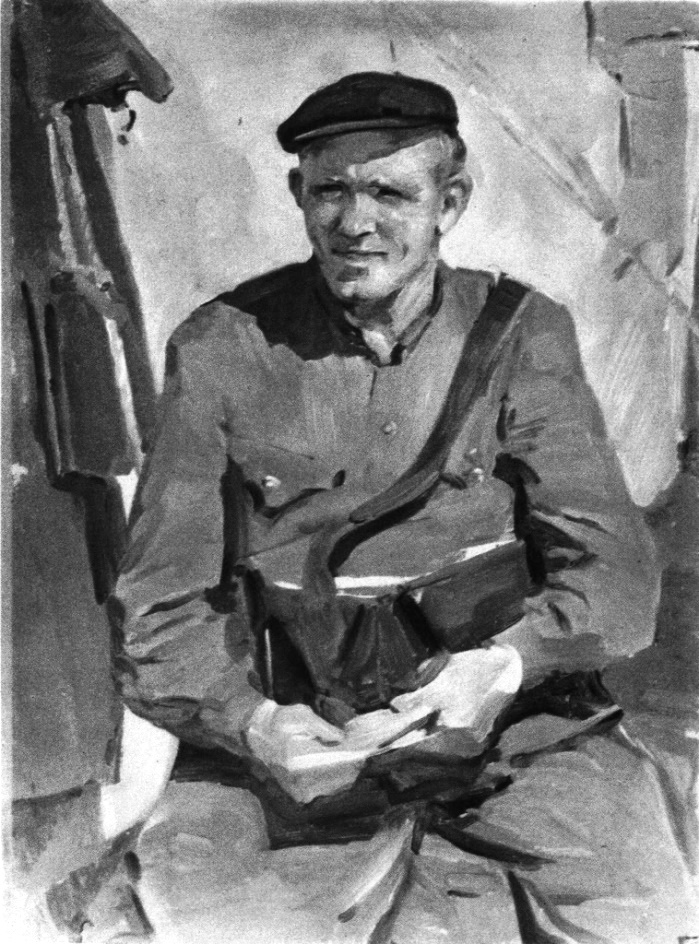 Postman, Moskow Komsomol member N. Churenin. The Omsk Region. Etude