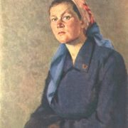 Portrait of Valentina Fedyanina, brigadier of the Komsomol women's tractor brigade. Altai