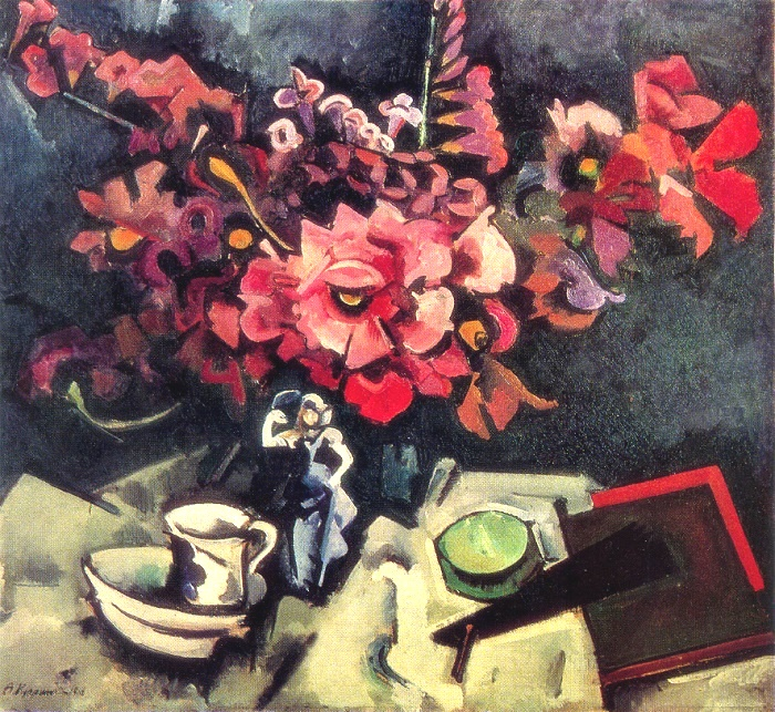 Still life with artificial pink flowers against black background. 1918. Oil on canvas. The State Tretyakov gallery