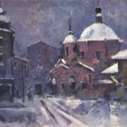 Town landscape with pink church. Dusk, 1924