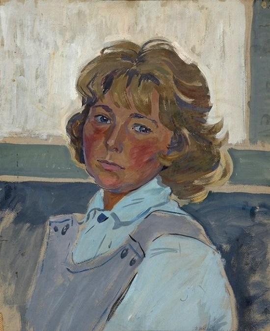 1981 Self-portrait. Soviet artist Irina Vasilievna Shevandronova (1928 - 1993)