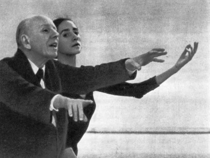 Choreographer K. Goleizovsky rehearses with N. Bessmertnova