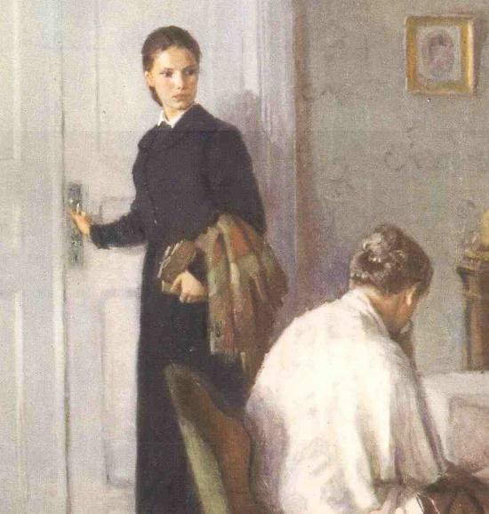 Detail of painting 'Sofya Kovalevskaya'. Diploma work by Soviet artist Marina Andreyevna Ivanova