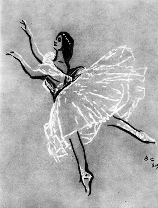 Drawing by V. Serov. Ballerina Anna Pavlova. 1909