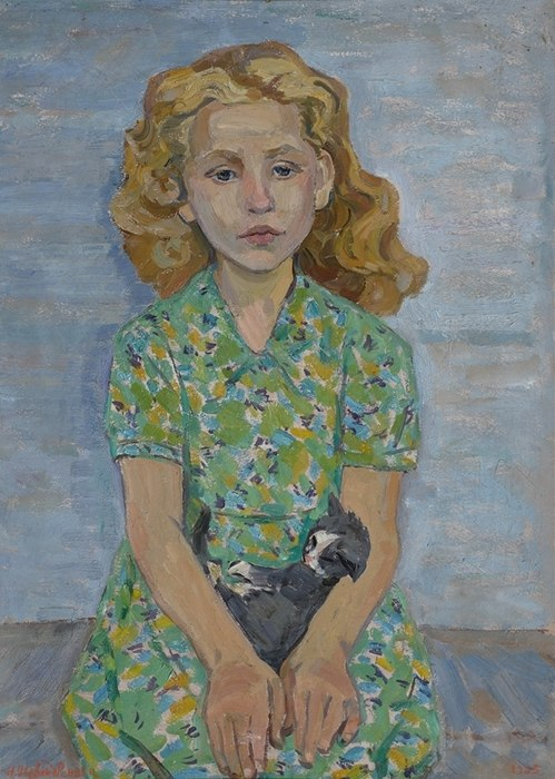 From the series 'Children from the area of Pskov Lake'. A girl with a kitten. 1965