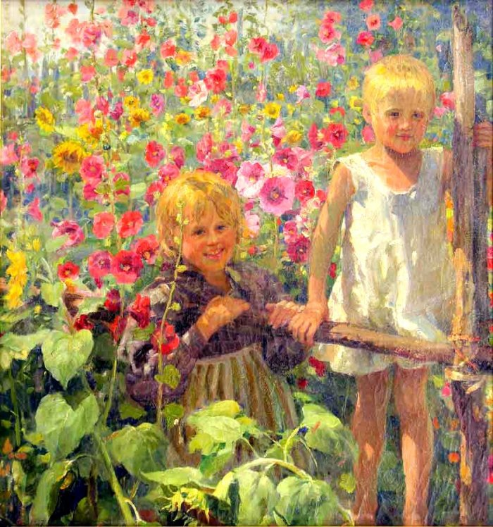 A boy and a girl in the garden