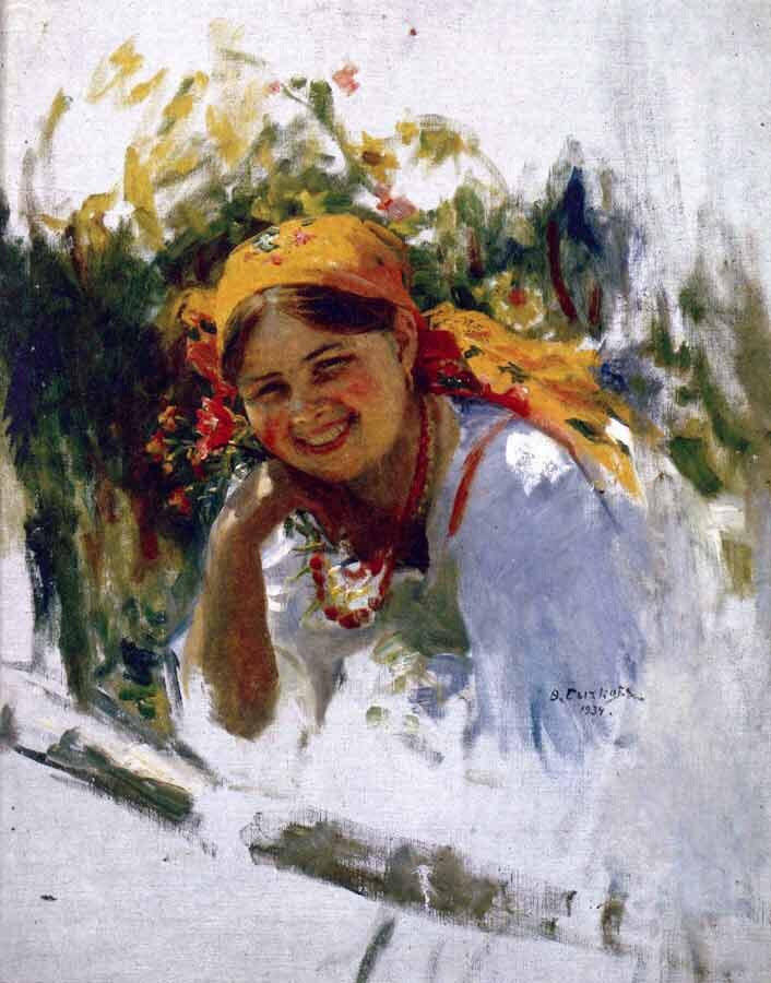 A girl in an orange kerchief. Etude. 1934