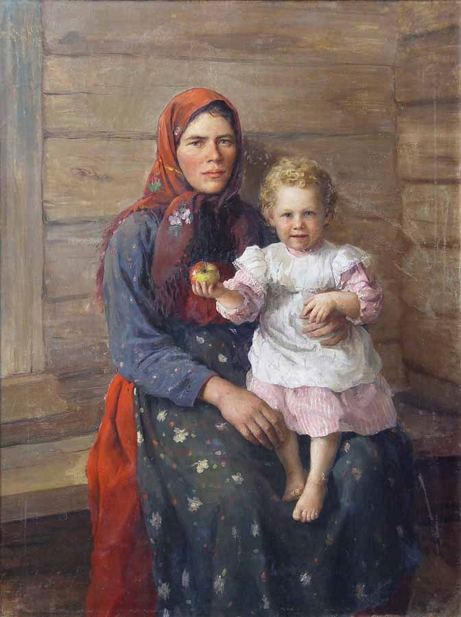 A woman with a child. Portrait of a sister. 1903