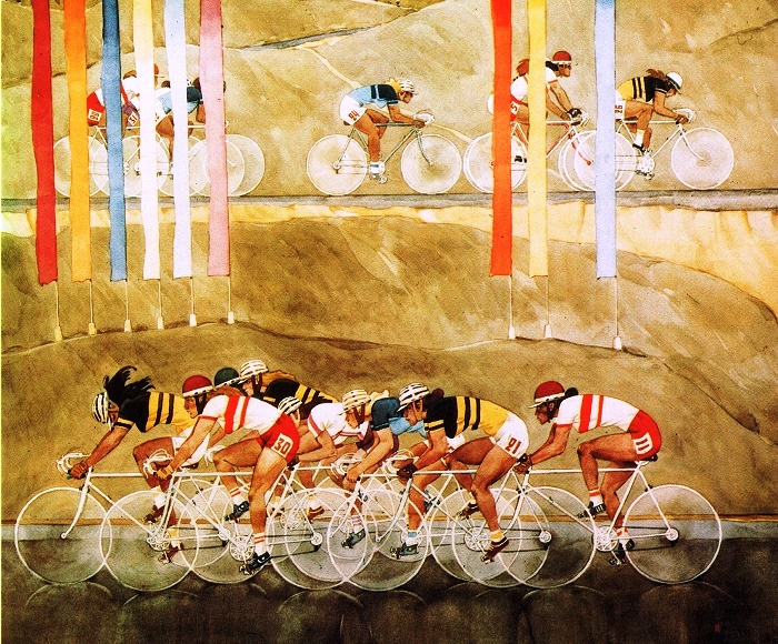A.V. Volkov Bicycle race 1971. Watercolor paper