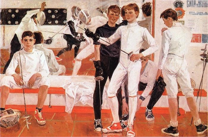 AV Saikin. Young Musketeers 1976. Paper, watercolor