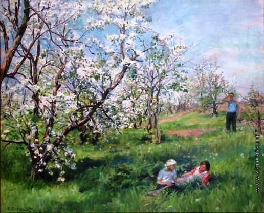 Blooming apple tree. 1941