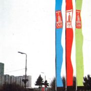 Decorative banner with the emblem of the Olympics-80