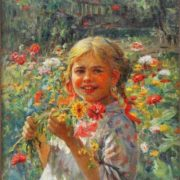Girl picking wild flowers