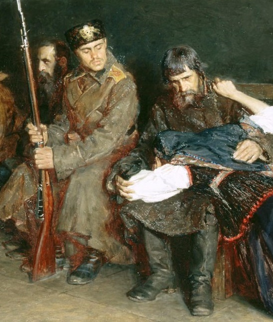 In the corridor of the district court. (1897) Oil on canvas. 100 x 118cm. Sevastopol Art Museum. PM Kroshitsky