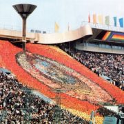 Live mosaic at one of the stands of the Grand Sports Arena in Luzhniki