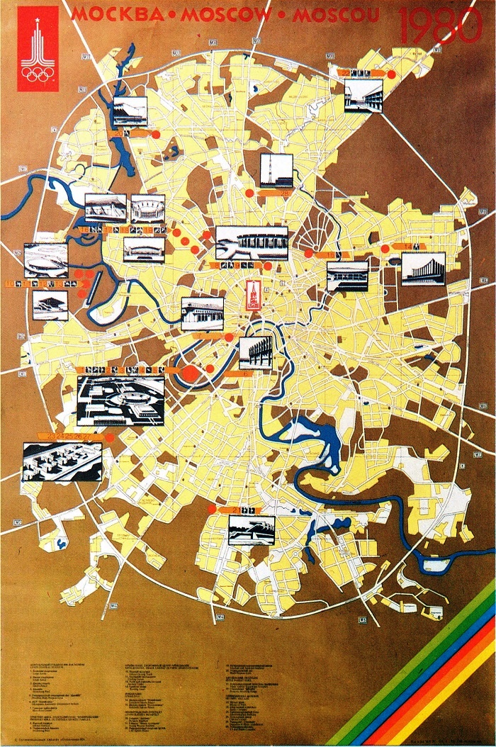 Map of Moscow. Olympic facilities and tracks