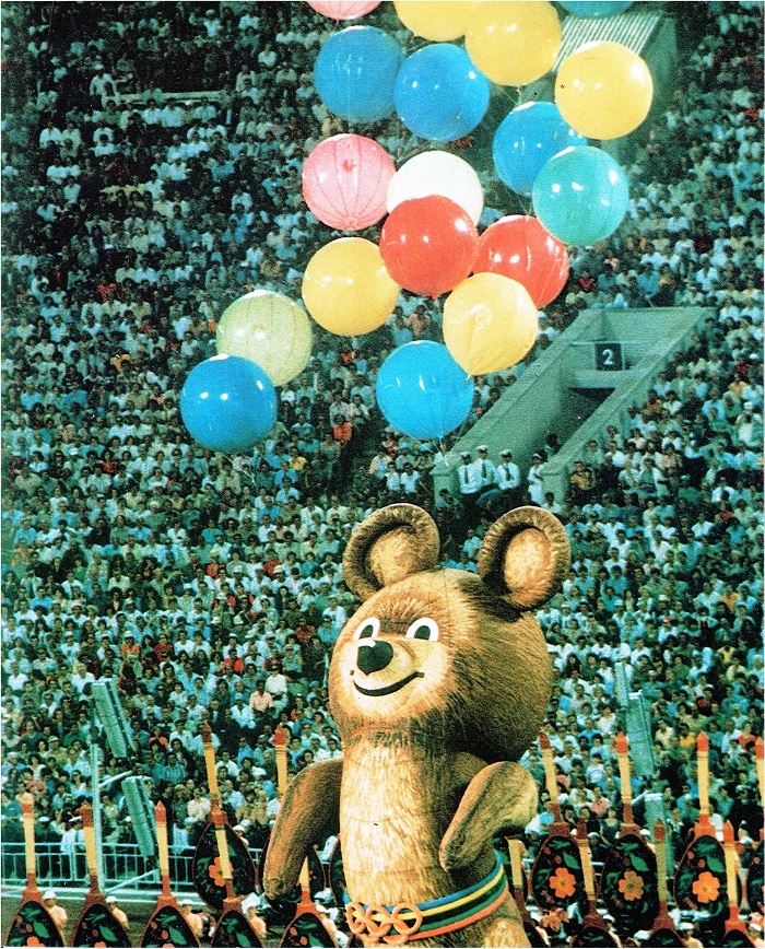 Misha - the official mascot of the Olympics-80, closing ceremony