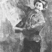 Pioneer with a picture in his hand. Sketch for the painting 'Wall newspaper' Oil. 1927