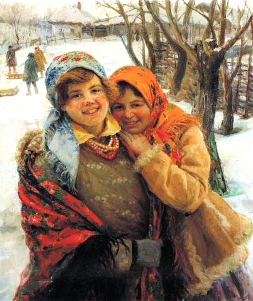 Painting by Fedot Sychkov. Village girls
