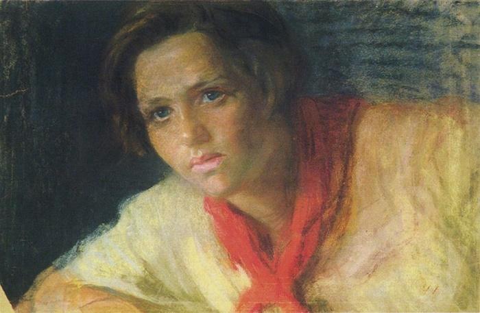 Komsomol member-pioneer leader. A thought. Pastel. 1925