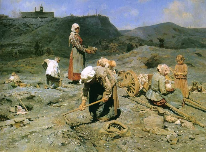 The Poor Collecting coal on a waste mine. 1894