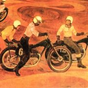 V.Yu. Scherbinin. Motorcycle racer 1973 oil on canvas