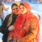 Winter. Girl friends