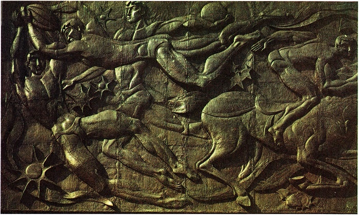 Zurab Tsereteli. Bas-relief on the building of the hotel complex in Izmailovo 1979-1980. Fragment