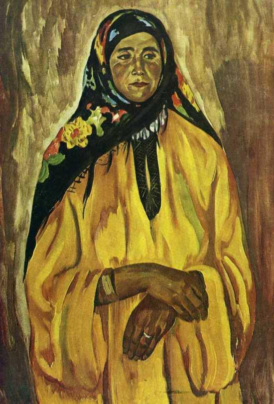 A woman in a black shawl. Sketch for the painting 'Mother'. 1968. Soviet artist Vladimir Boborykin