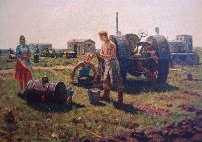 Noon at the camp. 1954. Artist I. Novoseltsev