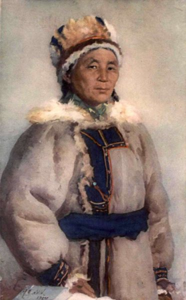 Portrait of Brigadier-shepherd Kara Ulankina (From series of portraits Advanced people of Altai). 1954. Artist S. Dudnik