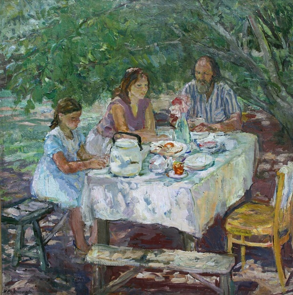 Tea drinking in the garden. 1977