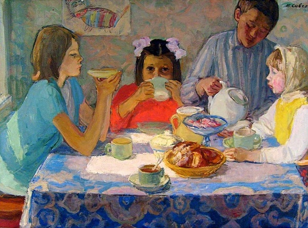 Tea drinking. 1977. Oil on canvas