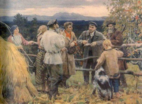 Vasily Basov (1918-1962). Vladimir Lening among the peasants of the village of Shushenskoye. 1954