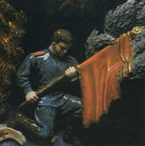 Soldier with the banner, fragment of the vase 'Victory'