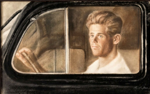 Portrait of a man behind the glass of a car. 1937