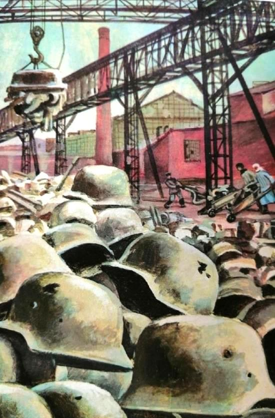 At the Metallurgical plant, processing the nazi helmets